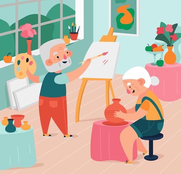 Пожилые люди занимаются творческими действиями, рисуют и лепят в студии плоской иллюстрации.