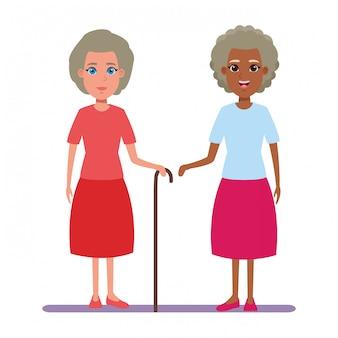 Elderly people avatar cartoon character