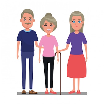 Elderly people avatar cartoon character
