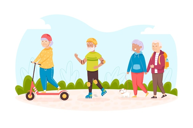 Elderly people being active