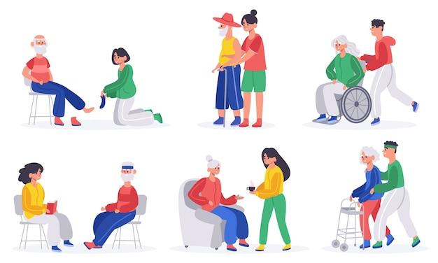 Пожилые люди ухаживают за иллюстрацией