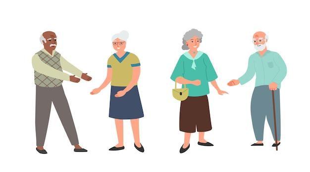 高齢者のカップル。異なる民族と国籍。幸せな笑顔の男性と女性はイラストを抱きしめたい