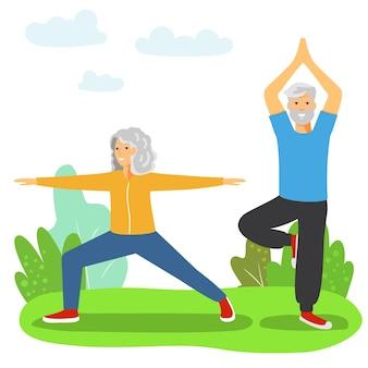 스포츠를 하는 노인들 운동을 하는 연습을 하는 노부부 연금 건강한 활동