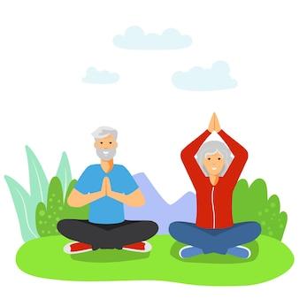 スポーツをしている高齢者老夫婦年金受給者が運動をしている健康的な活動