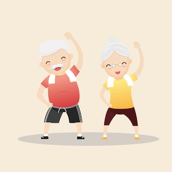 Elderly people exercising concept.