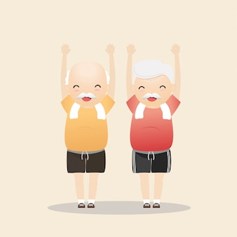 Elderly people exercising illustration