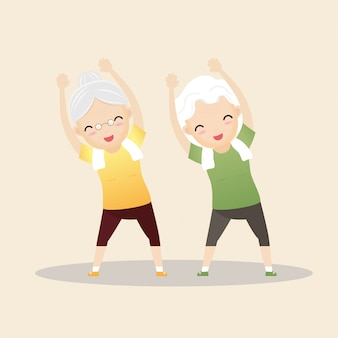 Elderly people exercising.