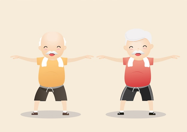 Elderly people exercising .