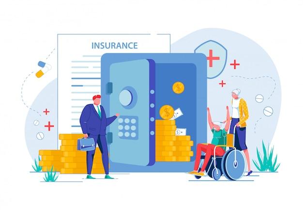 Elderly people get money by medical insurance.