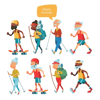 Elderly people grandparents lead a healthy lifestyle a set of characters of elderly people
