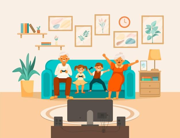 노인들은 행복한 삶 만화 구성 할머니와 할아버지가 콘솔 게임을 한다