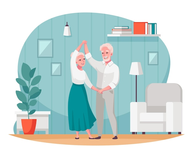 Elderly people having healthy active social life composition with dancing senior couple