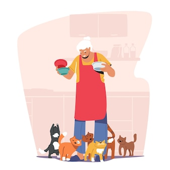 Elderly people hobby concept. old granny holding plates with food for cats. cute senior lady with gray hair feeding pets