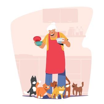 노인 취미 개념입니다. 고양이 음식 접시를 들고 오래 된 할머니입니다. 애완 동물을 먹이는 회색 머리를 가진 귀여운 시니어 레이디