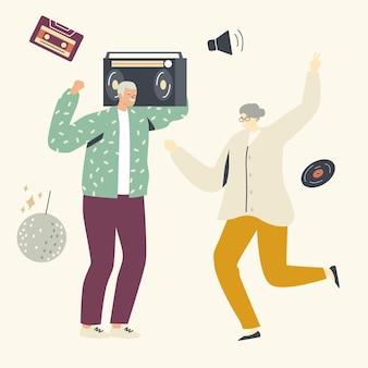 노인 레저 또는 활동적인 취미. 테이프 레코더와 노인과 여성 캐릭터 댄스
