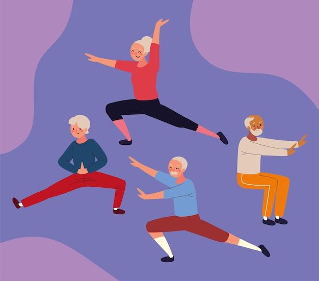 Elderly people making yoga