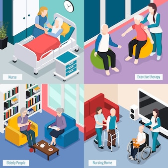 Elderly people nursing home accommodations concept with residents reading lounge exercise therapy medical care isolated illustration