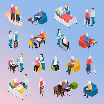 Elderly people nursing home residents isometric elements set