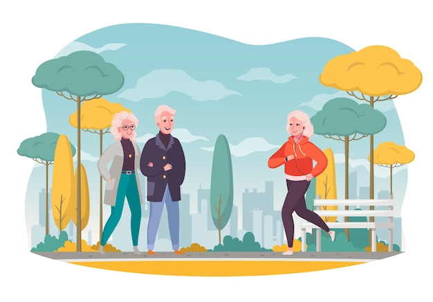 Elderly people outdoor cartoon composition with walking couple active senior woman jogging in autumn cityscape