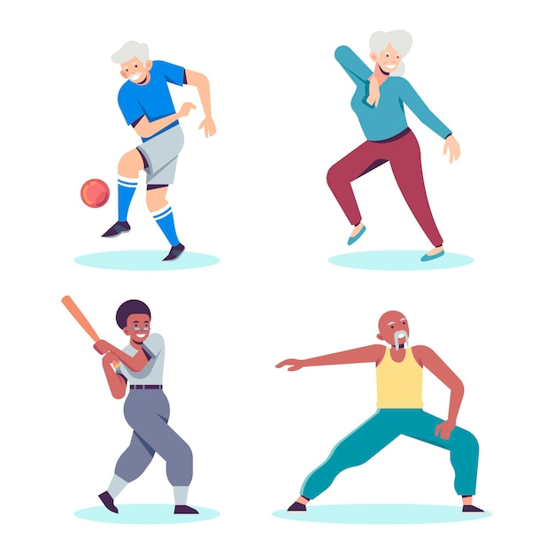 Elderly people playing different types of sports