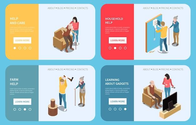 Servizio di assistenza sociale professionale per anziani un insieme isometrico di quattro insegne orizzontali con pulsanti e illustrazione del testo