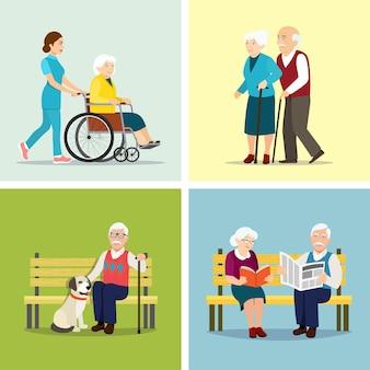Набор пожилых людей. векторная иллюстрация плоский стиль.
