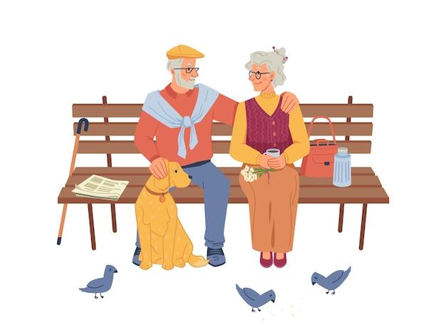 Пожилые люди, сидящие на скамейке, голуби и собака