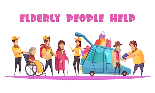 Elderly people social support service helping with socializing walking shopping organizing activities in wheelchair cartoon