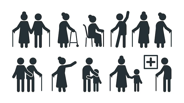 Elderly people symbols. old persons stylized pictogram seniors in various pose vector set. elderly stylized pictogram, pose walking silhouette illustration