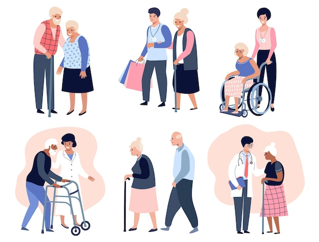 Пожилые люди гуляют, социальный работник помогает старшей старшей женщине, дедушке и бабушке. плоские векторные иллюстрации