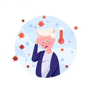 У пожилого человека симптомы лихорадки и головокружение в плоском стиле. вирус короны распространился в воздухе.