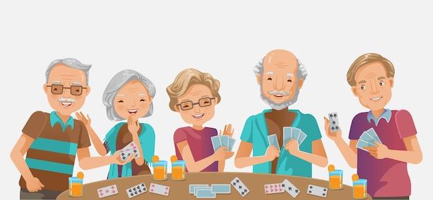 高齢者がゲームをしている。幸せな年配の女性高齢者笑顔と老人が笑っています。