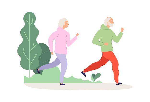 Бегущий пожилой человек. тренировка в парке бабушек и дедушек, бег трусцой счастливые старики.