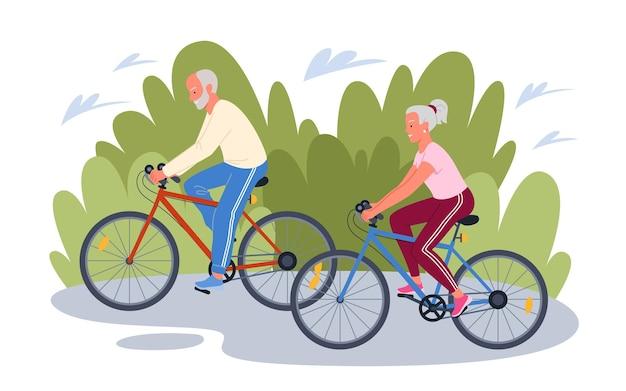 高齢者の幸せな老人女性サイクリストのキャラクターが自転車に乗る
