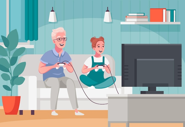 Elderly senior people home activities cartoon composition with playing online games for children and grandparents illustration