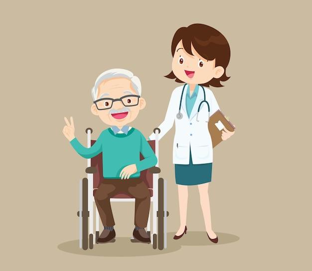 高齢者は医師の世話をしながら車椅子に座ります。車椅子の障害者と医師。