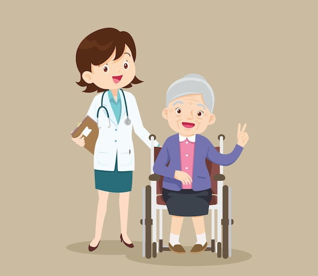 노인은 의사와 함께 휠체어에 앉아 있습니다.