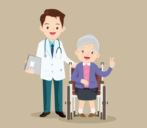 노인은 의사가 돌보는 휠체어에 앉아