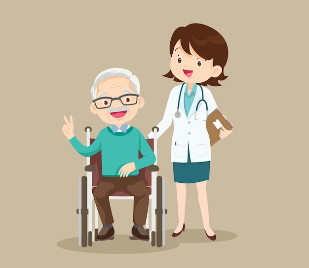 Elderly sit on a wheelchair with doctor take care.disabled person in the wheelchair and doctors.