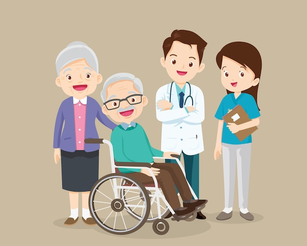 Elderly sit on a wheelchair with doctor take care.disabled person in the wheelchair and doctors