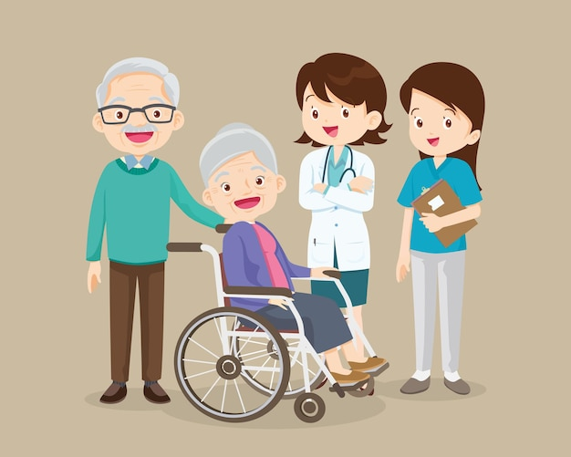 Elderly sit on wheelchair with doctor take care
