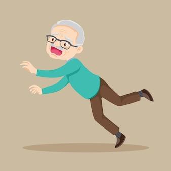 노인은 젖은 바닥에 미끄러 져 넘어집니다.