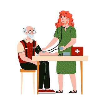 ヘルスケアを提供する高齢者支援ボランティアまたはソーシャルワーカーの女性キャラクター