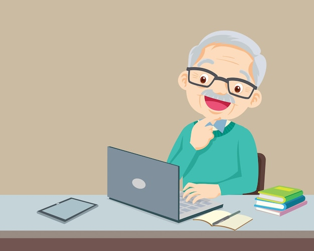 Elderly using a laptop computer for working at home