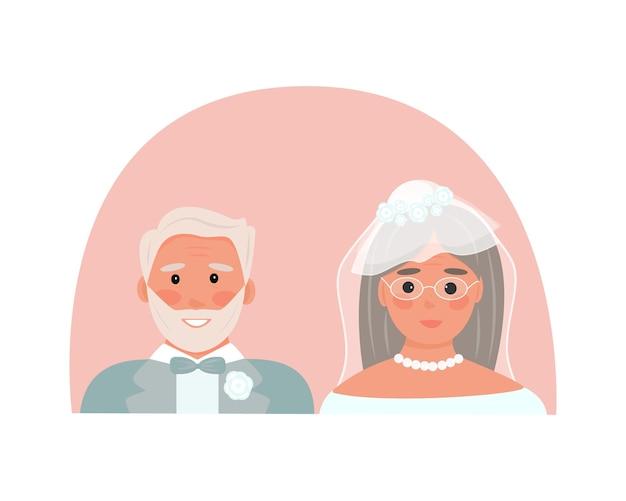 노인 결혼식. 연금 수령자가 결혼했습니다. 턱시도를 입은 노인과 머리에 베일을 쓴 여자. 결혼 등록, 기념일의 보편적인 개념. 분홍색 배경입니다. 벡터 일러스트 레이 션, 평면