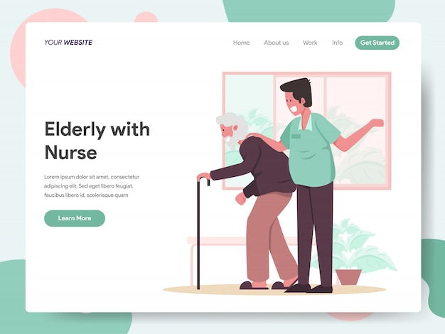 Elderly with caregiver or nurse banner for landing page