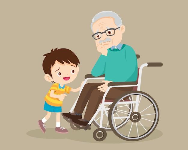 Пожилой ребенок с ребенком утешает грустного дедушку