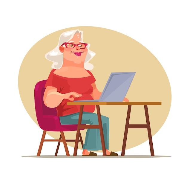 네트워크에서 채팅 노인 여성 캐릭터