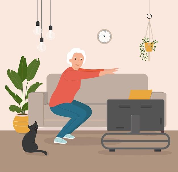 Пожилая женщина делает упражнения дома