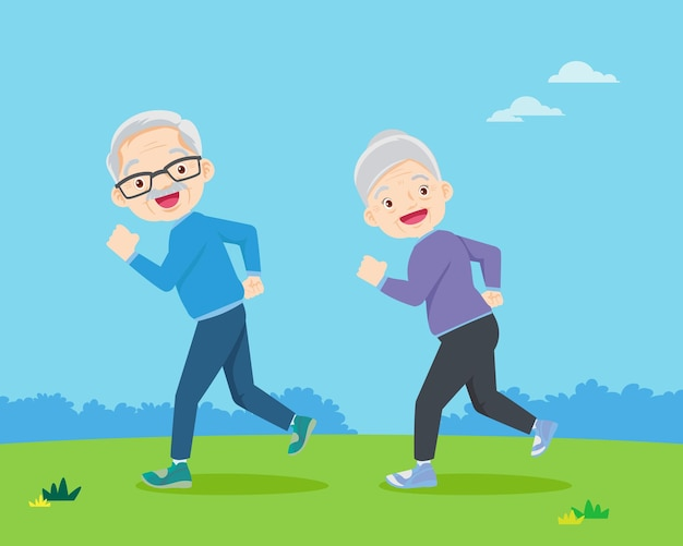 Elderly woman and elderly man jogging in the park
